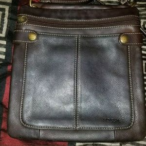 Vintage leather fossil crossbag